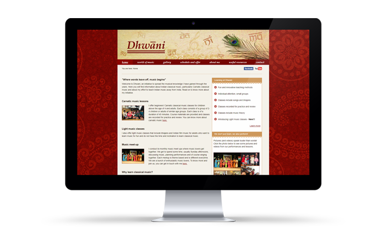 Showcase of Dhwani website