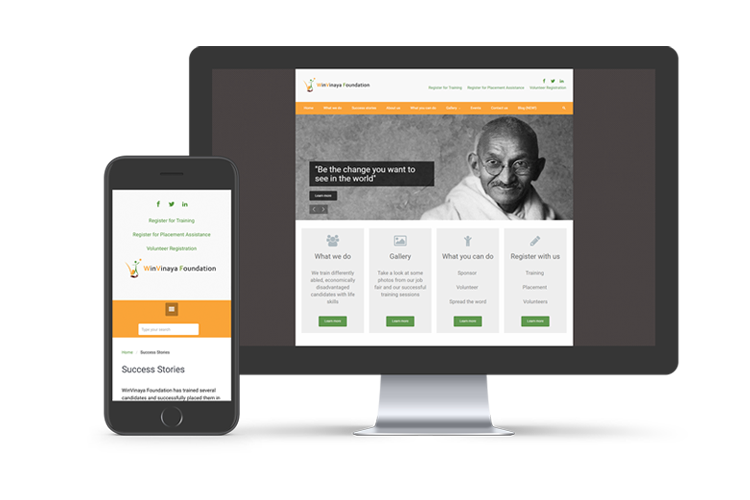 Showcase of WinVinaya Foundation website on various devices
