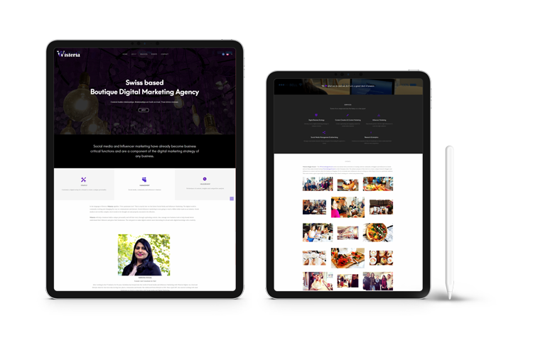 SShowcase of Wisteria Digital website on various devices